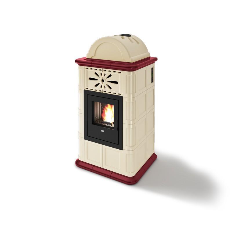 Poêle à granules ventilé céramique - EVACALOR Rosy 13.5 kw