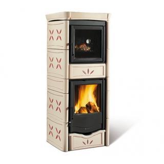 Poêle à bois revêtement en faïence et compartiment four - NORDICA Nicoletta Forno Evo Améthyste 10,6 kW