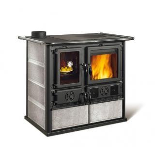 Cuisinière à bois revêtement pierre naturelle - NORDICA Rosa Sinistra Reverse Pierre 9,4 kW
