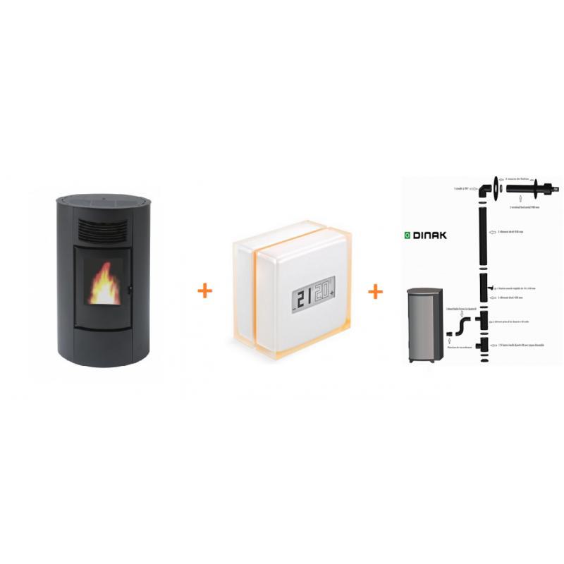 PACK Poêle à granulés Cinzia ORIGINE PH + Conduits Dinak + Module Wifi